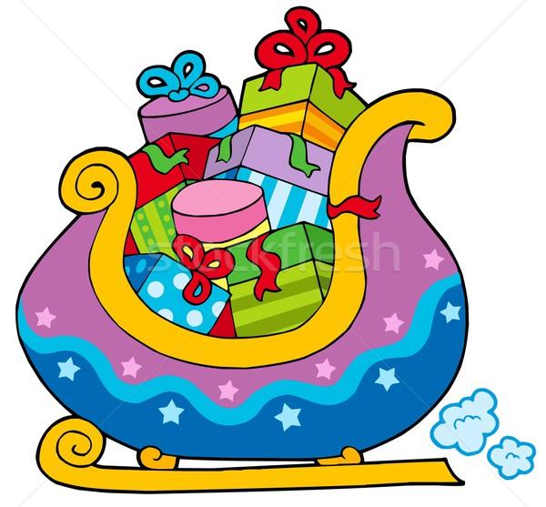 Karácsony szánkó tele ajándékok papír terv Stock fotó © clairev