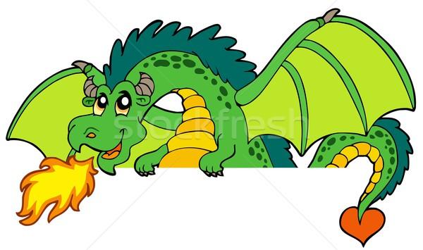 Giant green lurking dragon Stock photo © clairev
