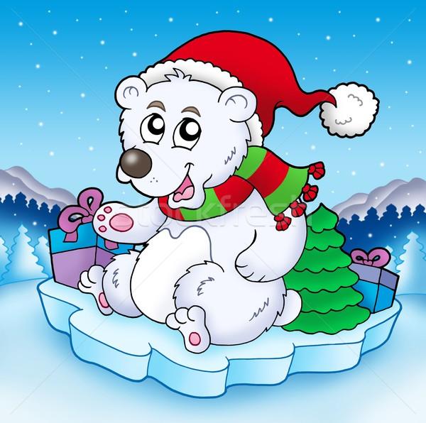 Cute Noël ours cadeaux couleur illustration Photo stock © clairev