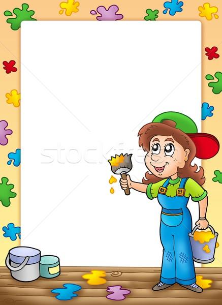 Stock fotó: Keret · aranyos · ház · festő · szín · illusztráció