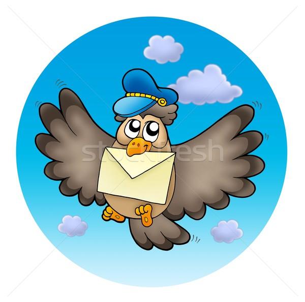 совы почтальон небе цвета иллюстрация бумаги Сток-фото © clairev