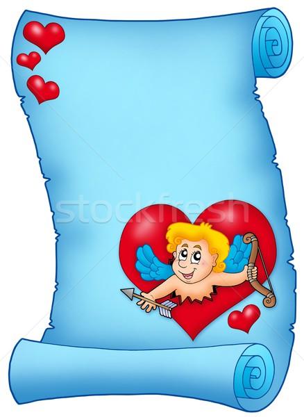 Azul pergamino color ilustración papel corazón Foto stock © clairev