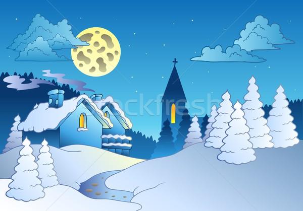 Small village in winter Stock photo © clairev