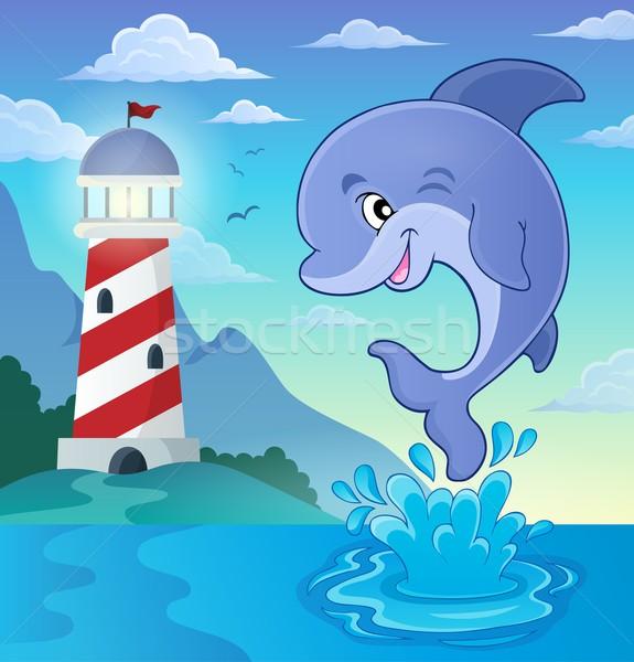 прыжки дельфин изображение улыбка искусства океана Сток-фото © clairev