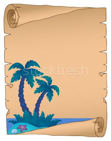 Foto stock: Pergaminho · natureza · palma · oceano · areia
