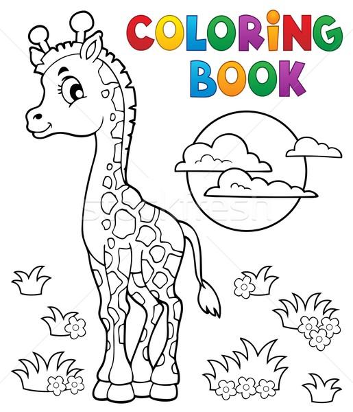 Kifestőkönyv fiatal zsiráf könyv boldog nap Stock fotó © clairev