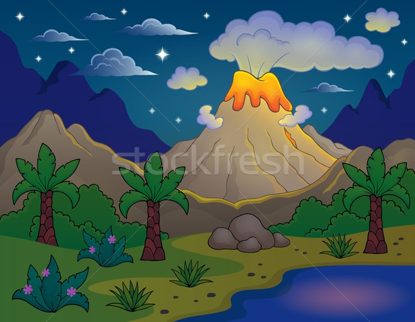 Prehistoric night landscape 2 Stock photo © clairev