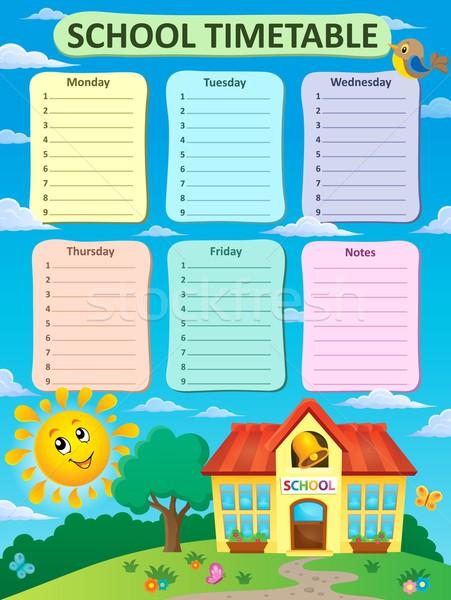 Hebdomadaire école calendrier maison papillon soleil Photo stock © clairev