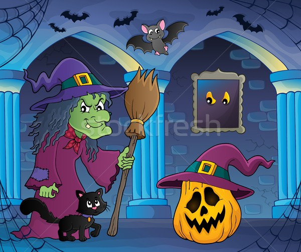 Witch with cat and broom theme image 6 Stock photo © clairev
