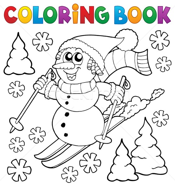 Boyama Kitabı Kayakçılık Kardan Adam Kitap Boya şapka