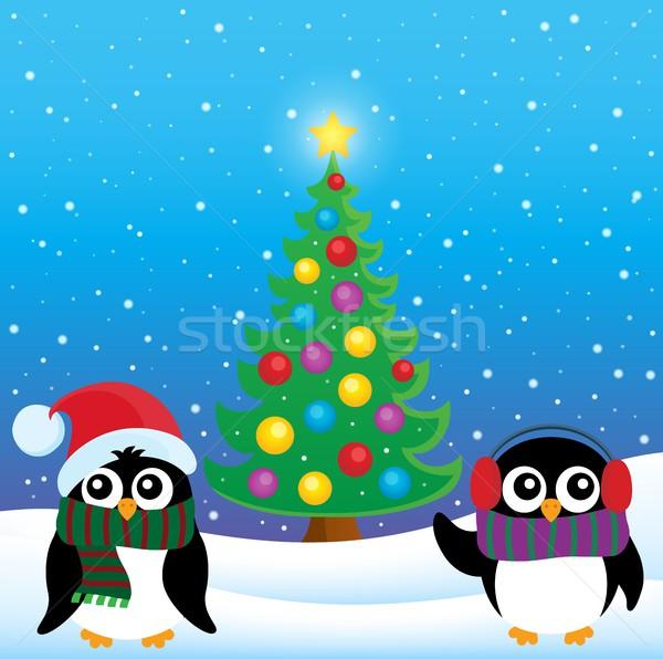 Stock photo: Stylized Christmas penguins theme 4
