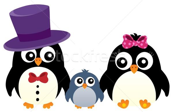 стилизованный пингвин семьи изображение искусства птица Сток-фото © clairev