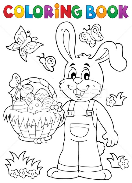 Coloring book Easter rabbit theme 7 Stock photo © clairev