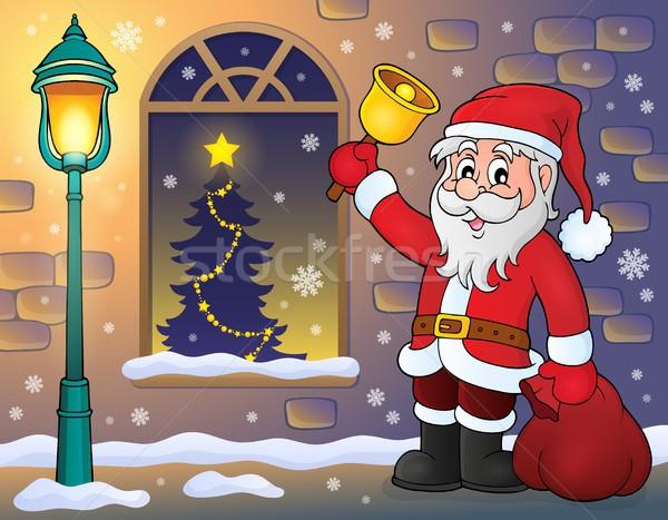 Дед Мороз тротуаре человека окна искусства одежды Сток-фото © clairev
