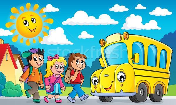 Gyerekek iskolabusz kép szem arc nap Stock fotó © clairev