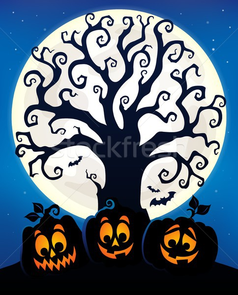 Halloween tree silhouette topic 6 Stock photo © clairev