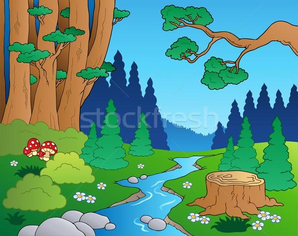 Cartoon forest landscape 1 Stock photo © clairev