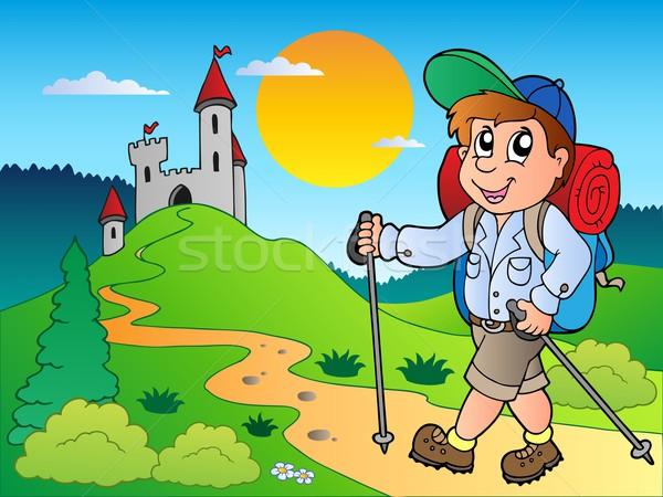Desenho animado andarilho menino castelo feliz criança Foto stock © clairev