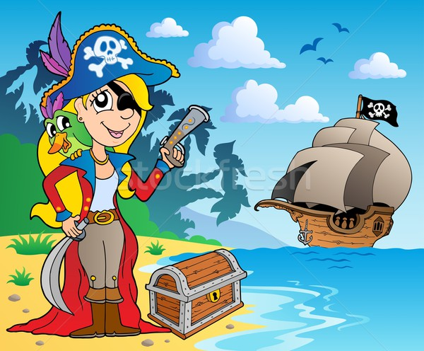Pirate girl on coast 2 Stock photo © clairev