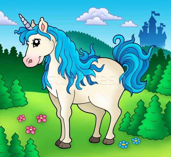 Cute unicorn in forest Stock photo © clairev