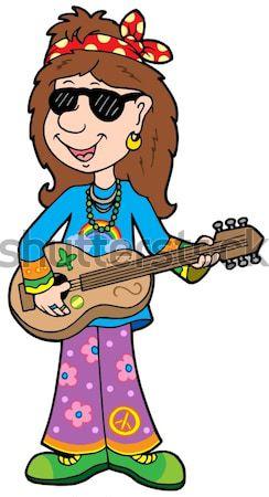 Hippi gitáros szabadtér szín illusztráció virág Stock fotó © clairev