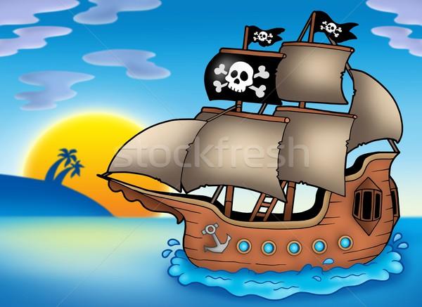 Pirate ship on sea Stock photo © clairev