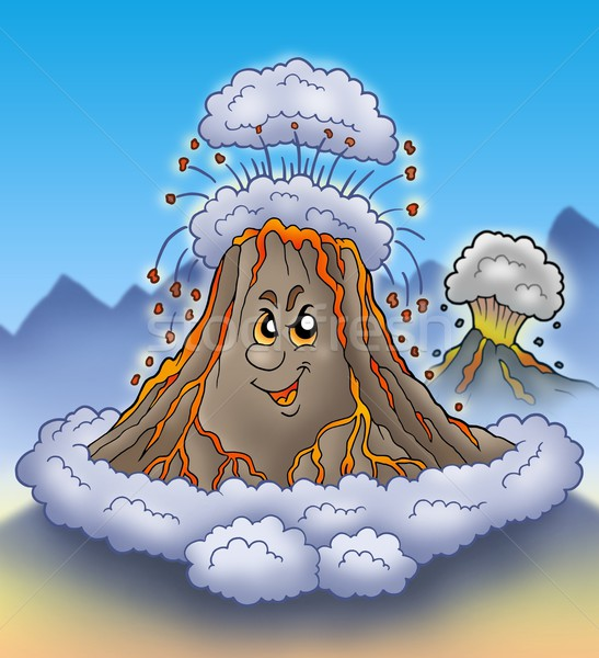 Erupting cartoon volcano Stock photo © clairev