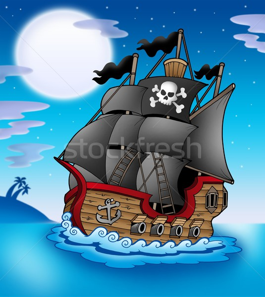 Pirate vessel at night Stock photo © clairev