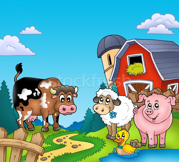 Stock photo: Red barn with farm animals