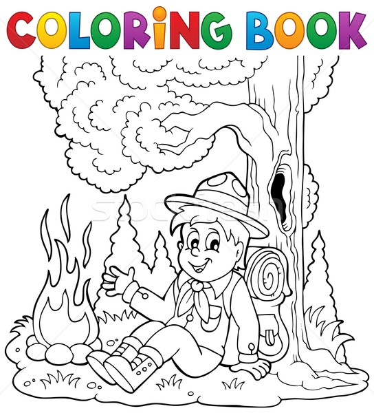 Coloring book scout boy theme 1 Stock photo © clairev
