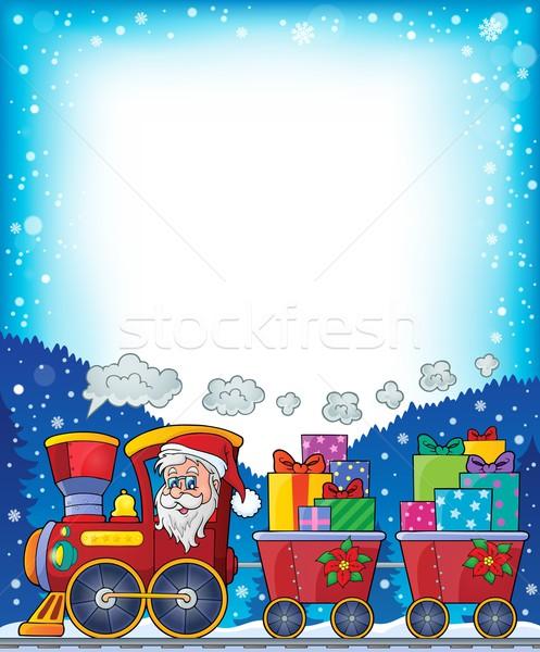 Marco Navidad tren cara arte regalo Foto stock © clairev