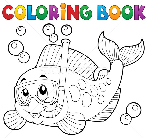 Coloring book fish snorkel diver Stock photo © clairev