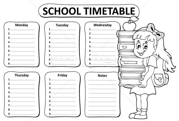 Zwart wit school dienstregeling boeken student tabel Stockfoto © clairev