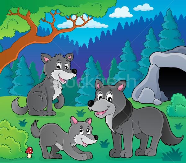 Farkasok kép fa boldog művészet kutyák Stock fotó © clairev