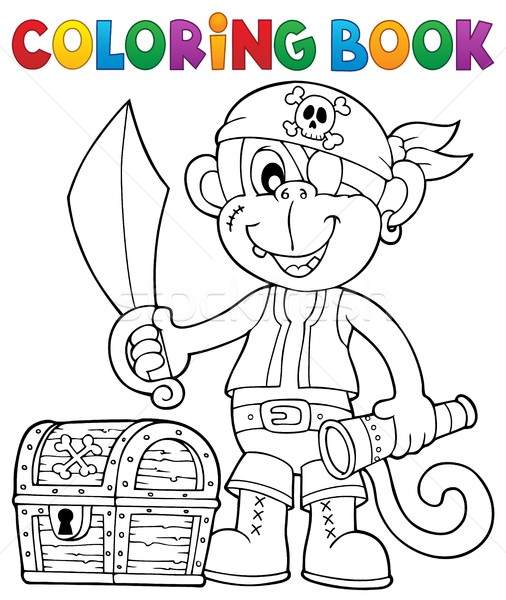 Coloring book pirate monkey image 2 Stock photo © clairev