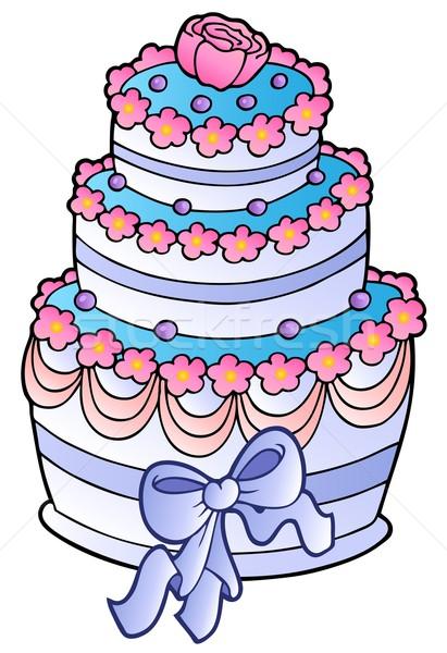 Düğün pastası şerit gıda dizayn sanat kek Stok fotoğraf © clairev