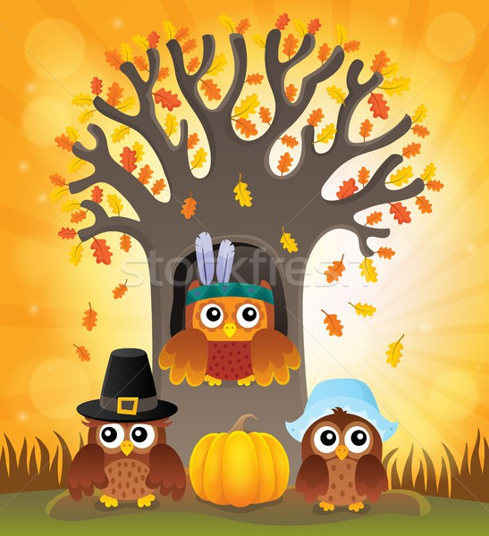 Thanksgiving owls thematic image 6 Stock photo © clairev
