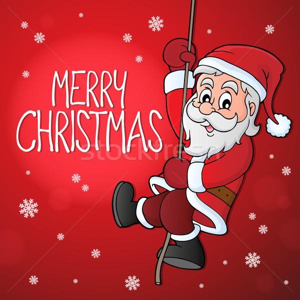 Wesoły christmas temat obraz ubrania liny Zdjęcia stock © clairev