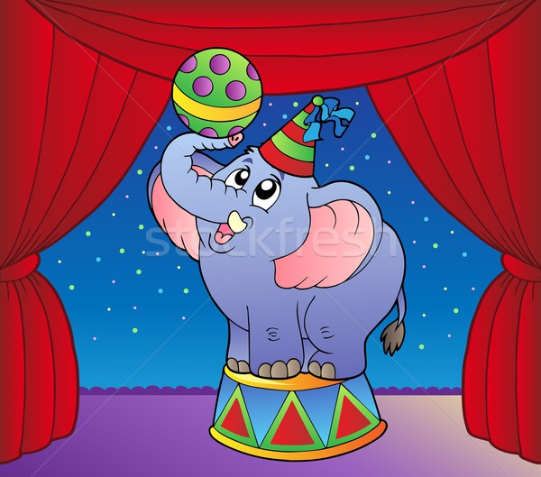 Cartoon éléphant cirque stade sourire fête Photo stock © clairev
