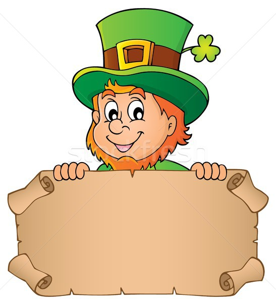 Leprechaun holding parchment image 1 Stock photo © clairev