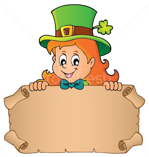 Leprechaun girl holding parchment 1 Stock photo © clairev