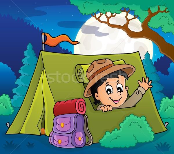 Izci çadır görüntü mutlu gece erkek Stok fotoğraf © clairev