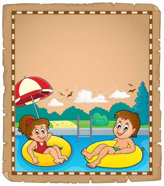 Stock photo: Parchment with children in swim rings