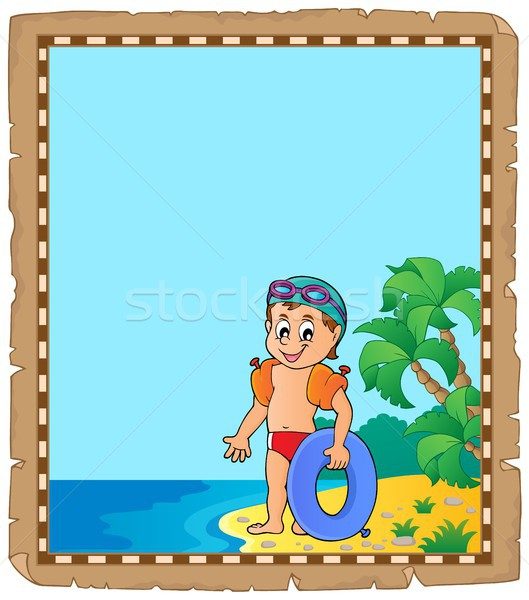 Parchment with little boy swimmer Stock photo © clairev