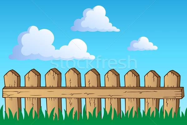 Stockfoto: Hek · afbeelding · bouw · ontwerp · wolk · tekening