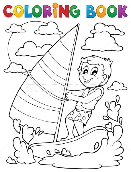 Coloring book water sport theme 1 Stock photo © clairev