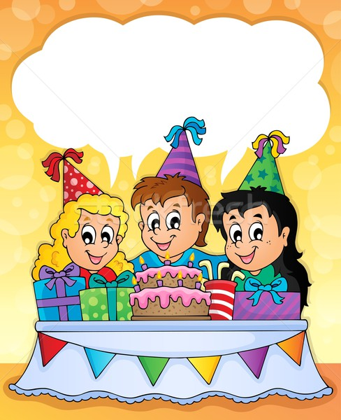 Gyerekek buli kép gyermek terv torta Stock fotó © clairev