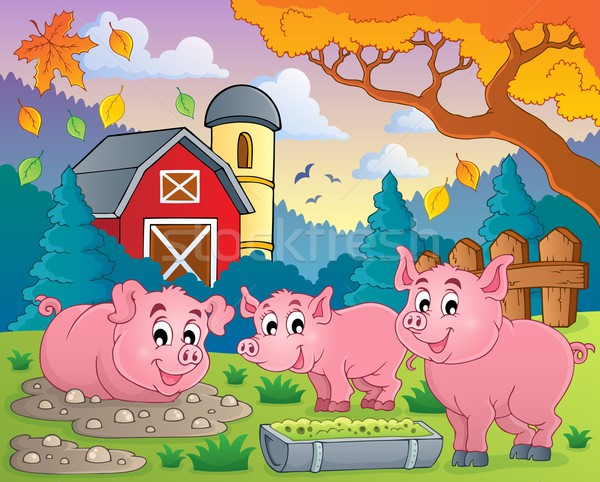 ストックフォト: 豚 · 画像 · 笑顔 · 建物 · 葉 · 秋