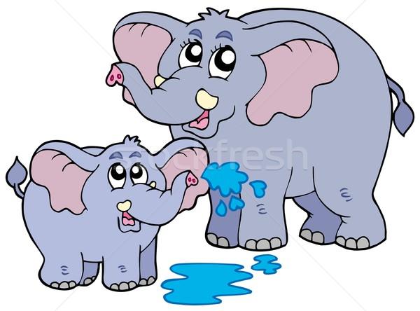Imagine de stoc: Femeie · copil · elefantii · zâmbet · ochi · artă