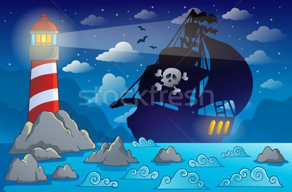 Foto stock: Pirata · navio · silhueta · costa · arte · oceano